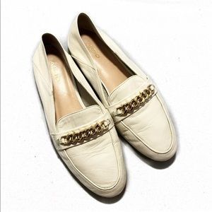 Aldo Woman White Leather Loafer Oxfords Flat Shoe